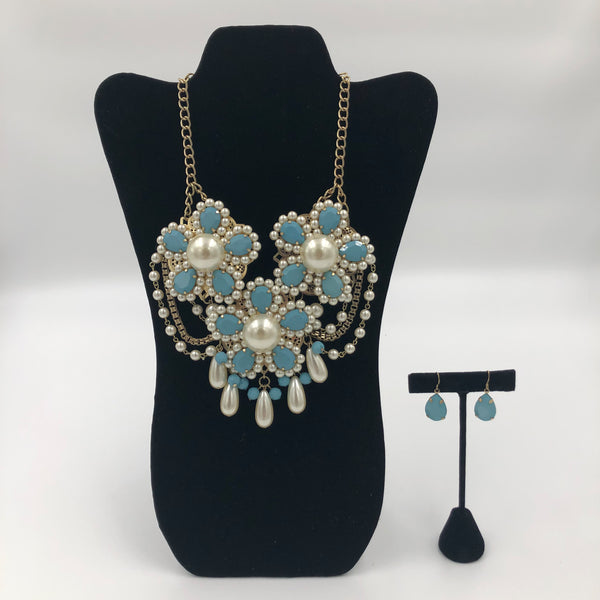 Blue Flower Necklace Set