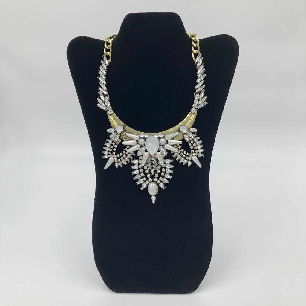 Spiked Crystal Pearl Necklace