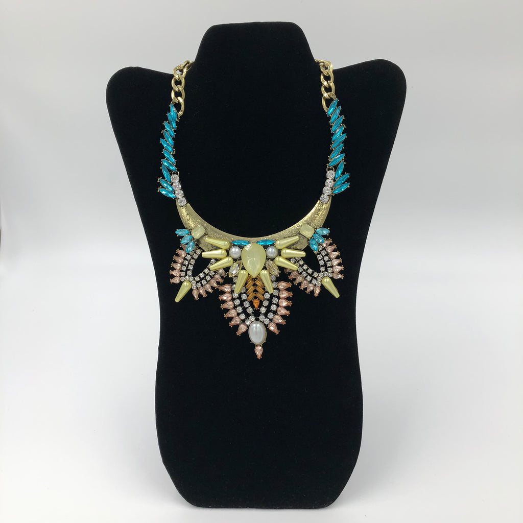 Blue Spiked Crystal Pearl Necklace