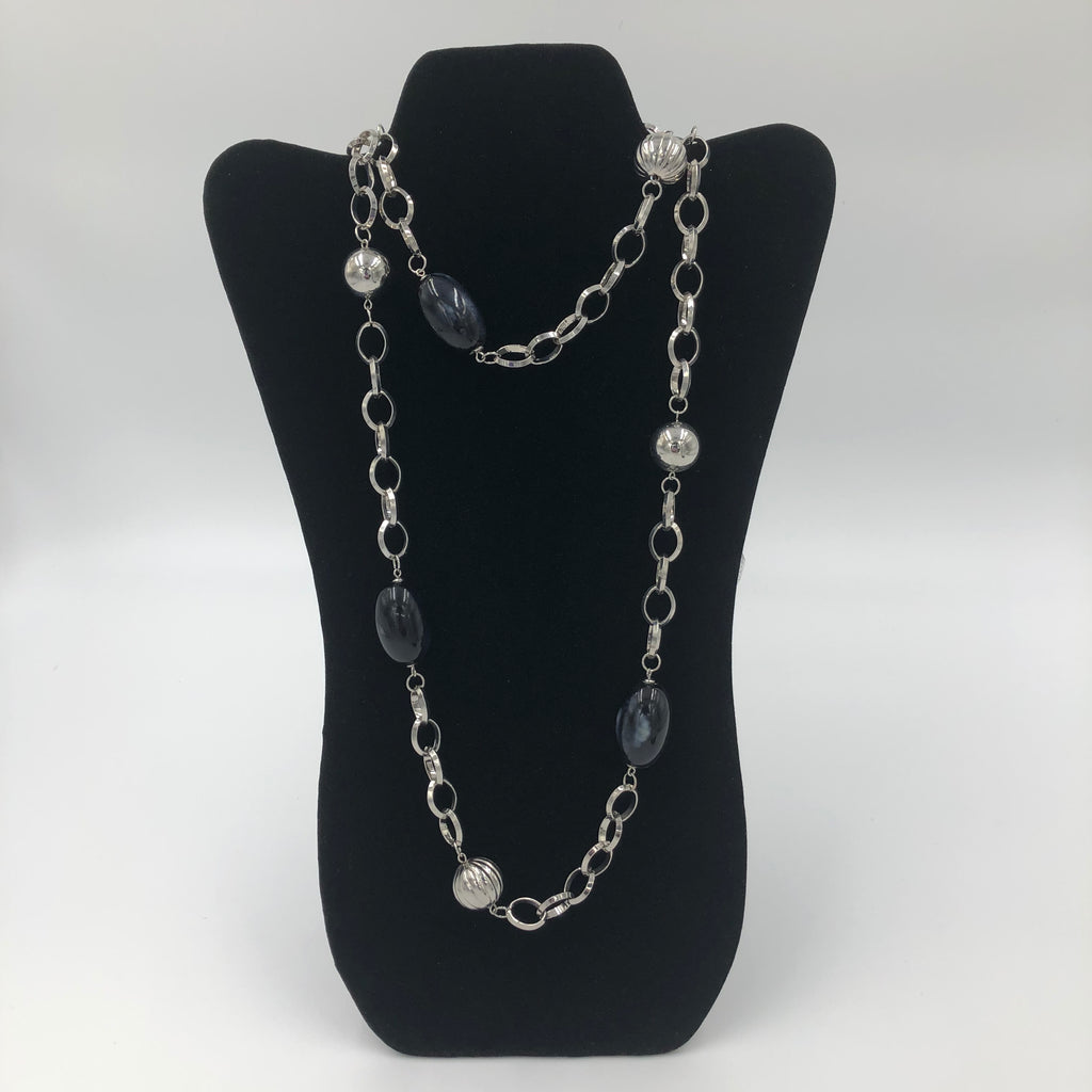Silver and Black Ball Necklace