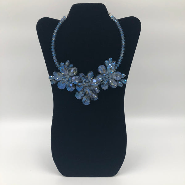 3 Flower Blue Crystal Necklace