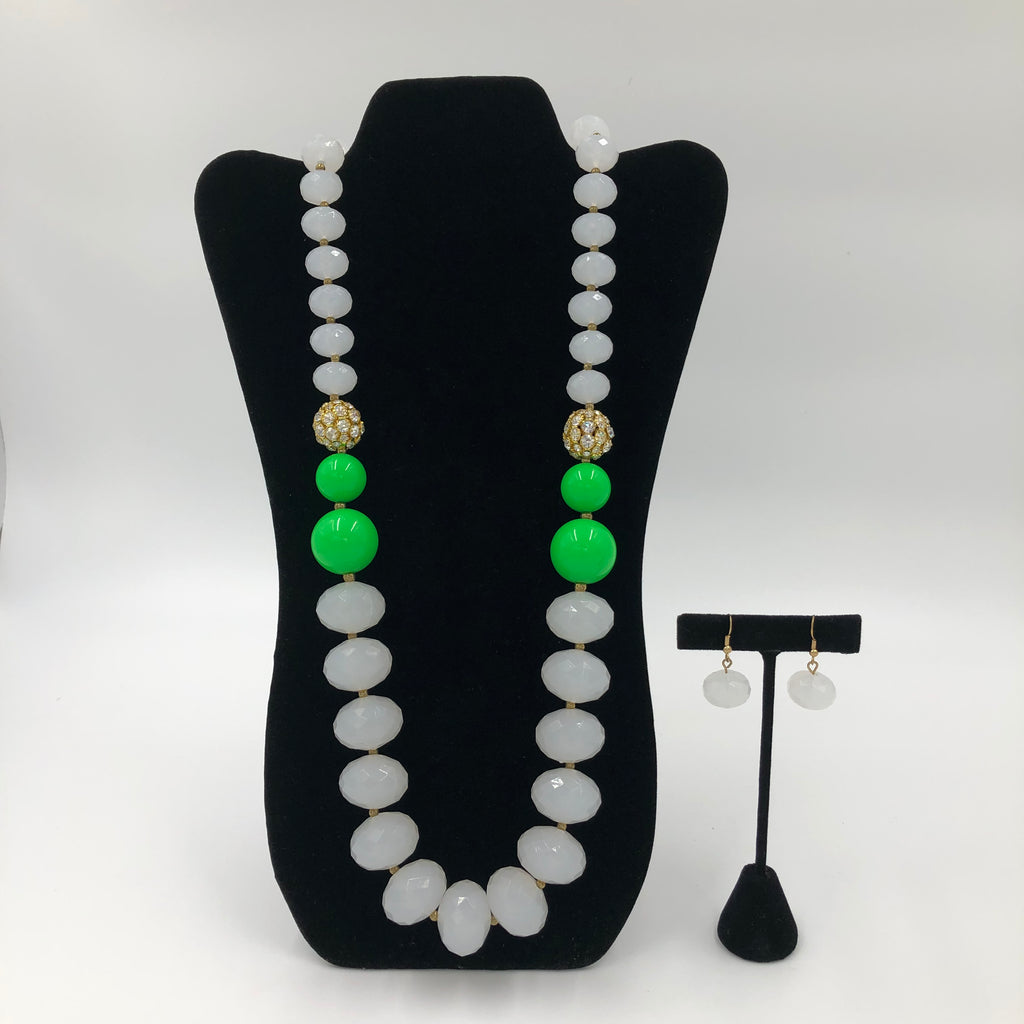 White and Green Stone Necklace Set