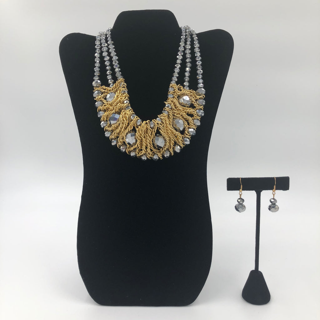 Gold and Pewter Stone Necklace Set