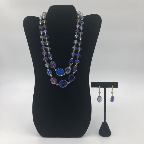 Blue See-Through Stone Necklace Set