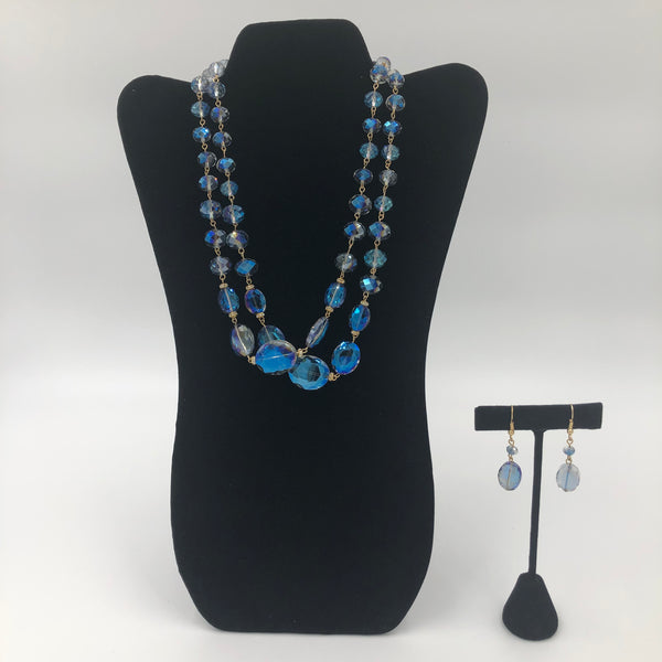 Blue and Clear Necklace Set