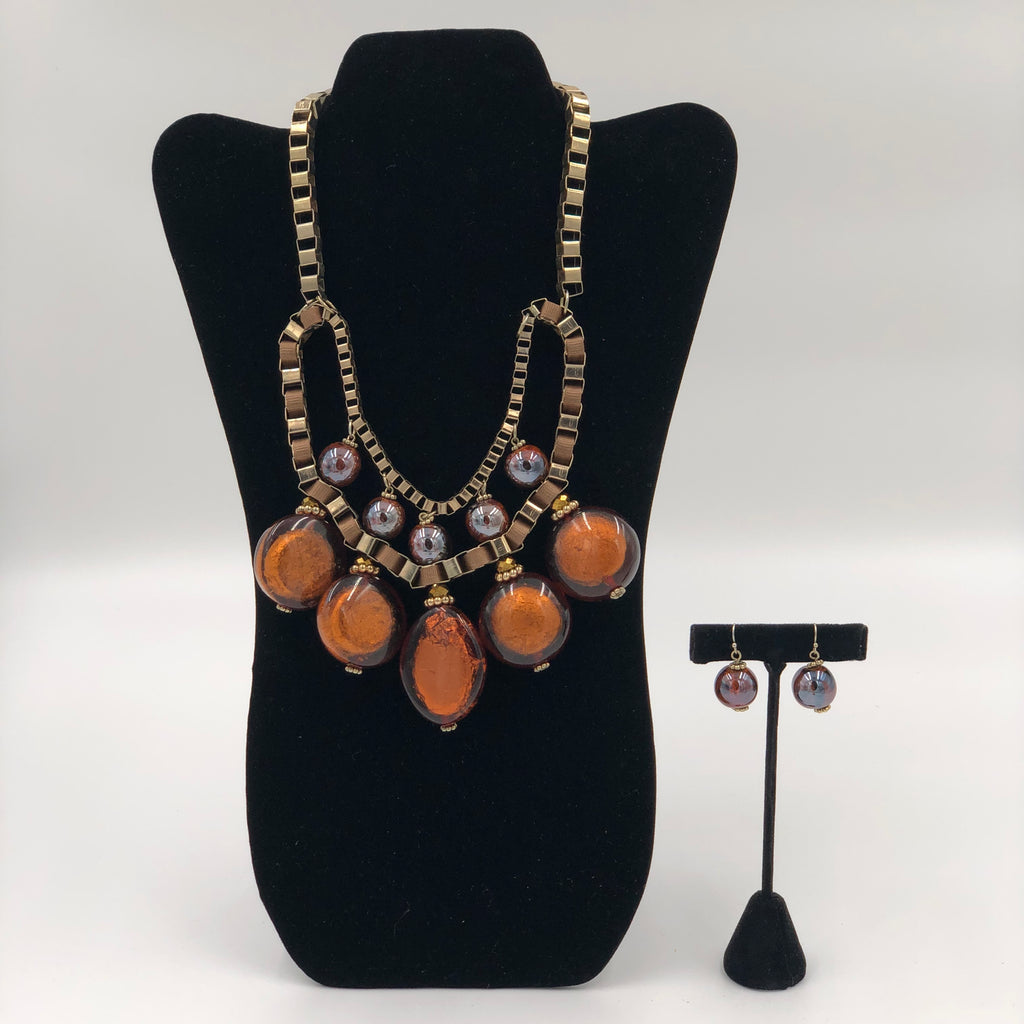 Mustard Stone Necklace Set