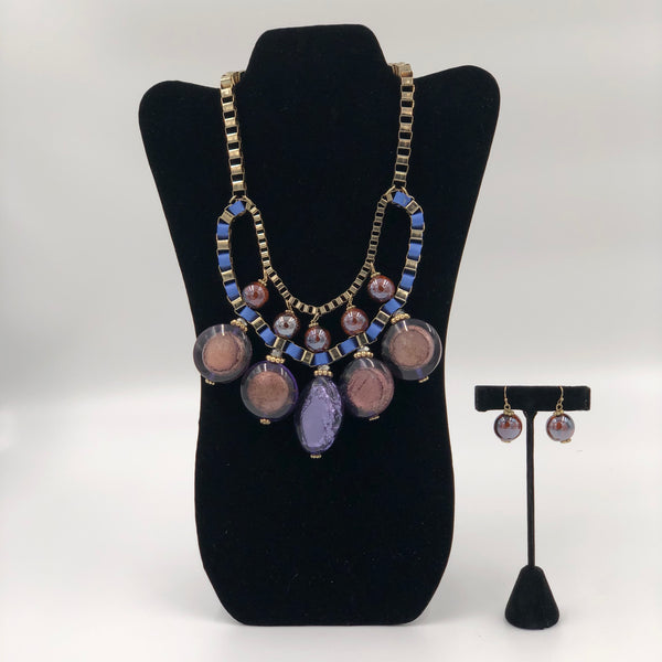 Blue Stone Necklace Set