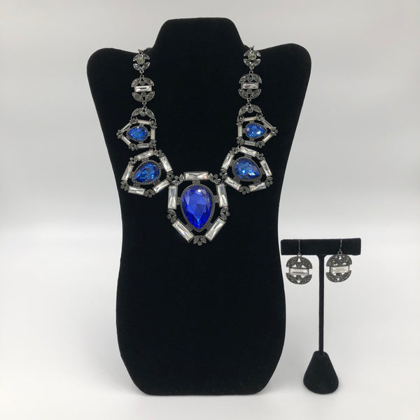 Big Blue Stone Necklace Set