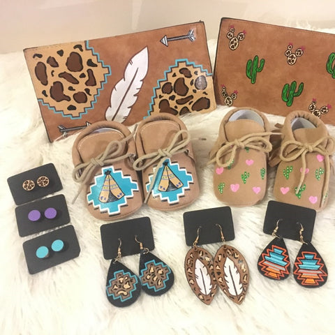 western heart designs custom painted baby shoes purses and earrings