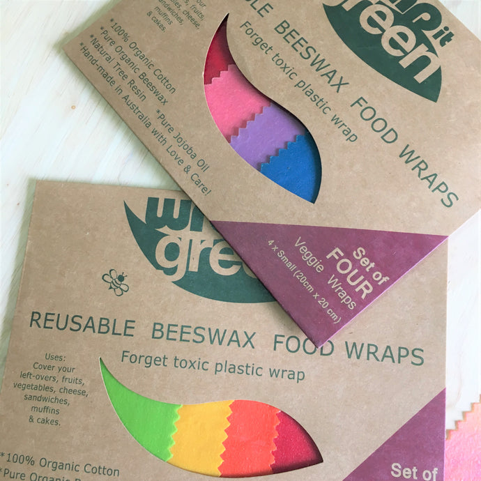 Bees wax wraps - veggie 4 pack