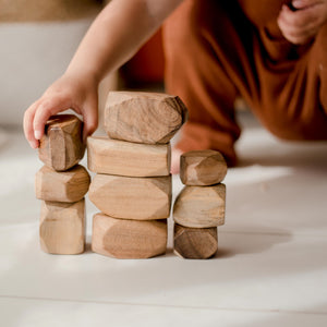 Wooden Stacking Gems all natural open ended play. Stack, build, knock over, balance, problem solve. Sustainably and ethically sourced and hand crafted. Qtoys product sold by Eco Kinder