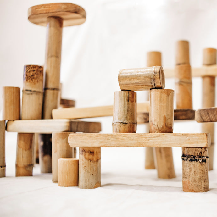 Bamboo Building Set All Natural 46 pieces perfect for open ended play for all ages Qtoys fine motor development, problem solving, imagination and creativity. All sustainably sourced