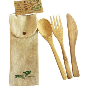 Bamboo cutlery in pouch