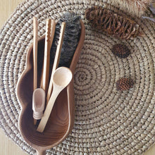 Load image into Gallery viewer, fine motor skills sensory tong kit. set of 4 includes 2 bamboo tongs a wooden spoon and a small scoop. sensory play tools to develop fine motor skills, perfect for messy sensory play.