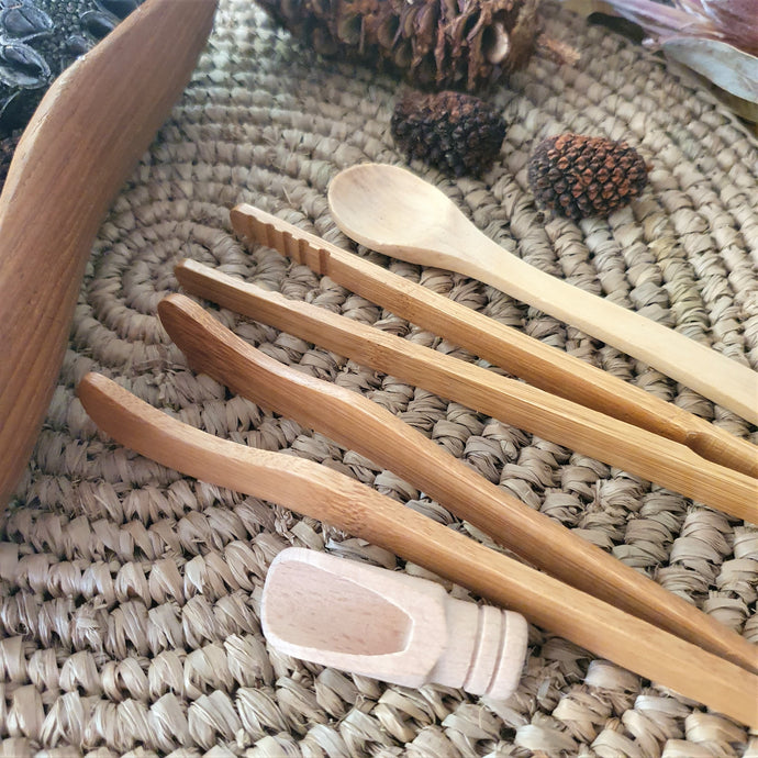 fine motor skills sensory tong kit. set of 4 includes 2 bamboo tongs a wooden spoon and a small scoop. sensory play tools to develop fine motor skills, perfect for messy sensory play.