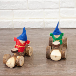 wooden all natural Gnome small world plat car. beautifully handcrafted from sustainably sourced wood. great addition to any small world play or car motor transport obsessed kids. Qtoys product sold by eco kinder