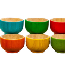 Load image into Gallery viewer, All Natural Wooden Rainbow bowls great for sensory and kitchen play.  a Sustainable Qtoys product ethically sourced. Colour recognition and fine motor colour sorting. pack of 6 beautifully crafted bowls