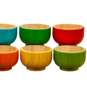 All Natural Wooden Rainbow bowls great for sensory and kitchen play.  a Sustainable Qtoys product ethically sourced. Colour recognition and fine motor colour sorting. pack of 6 beautifully crafted bowls