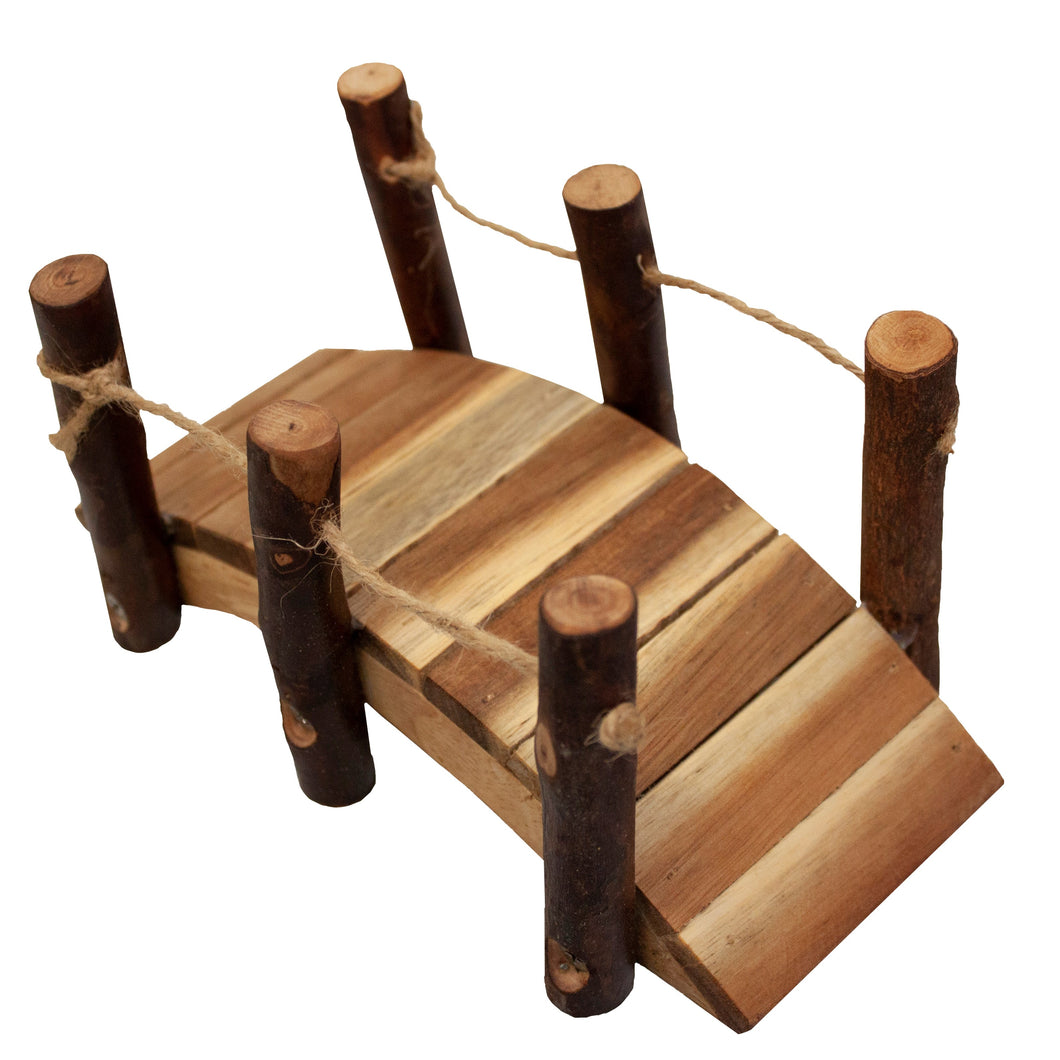 Natural wooden small world play bridge. perfect for Gnomes and dolls house size. Small world play encourages imagination and creative  play.  Qtoys sustainably sources ethically made toy products. Eco kinder