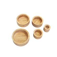 Load image into Gallery viewer, natural stacking bowls sensory play fine motor skills development. great for sorting, counting, used in role play and sensory activities. appropriate from toddlers 2 years and older