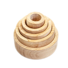 Load image into Gallery viewer, natural stacking sorting bowls. nesting into a tower. great for sensory play, sorting, counting, role play. the options for use are endless. appropriate for toddlers 2 years and older. great gift