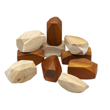 Load image into Gallery viewer, Wooden Stacking Gems all natural open ended play. Stack, build, knock over, balance, problem solve. Sustainably and ethically sourced and hand crafted. Qtoys product sold by Eco Kinder