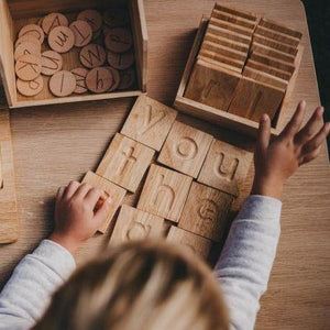Spelling and Writing Wooden tiles