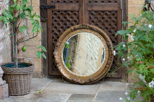 Offbeat Interiors - Nineteenth Century French Guilt Gesso Circular Wall Mirror