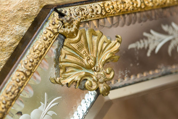 Offbeat Interiors - Nineteenth Century Brass Mounted Wall Glass