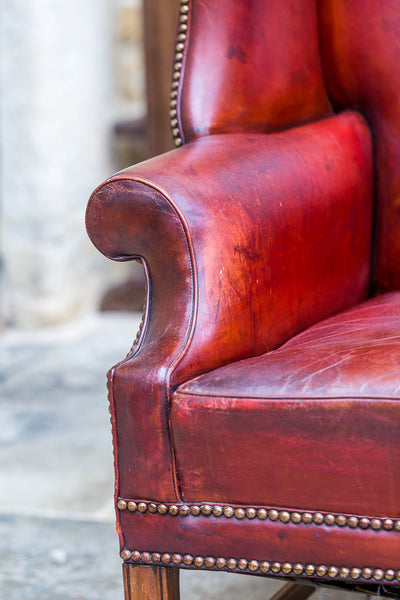 George III Style Leather Wingback Chair