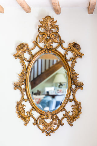 Mahogany Gilt Painted Framed Oval Mirror