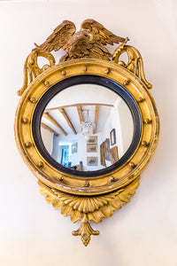 Regency Giltwood and Gesso Circular Convex Mirror