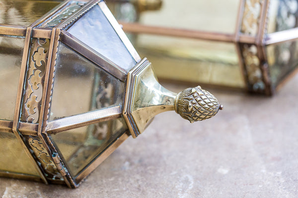 Brass Lanterns pinecone finial detail