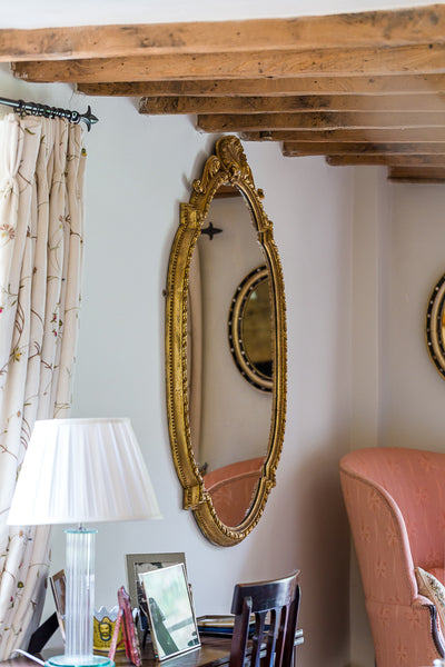 Antique French gilt gesso mirror with lamp