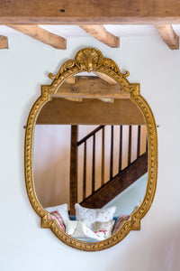 Antique French Gilt Gesso oval mirror front view