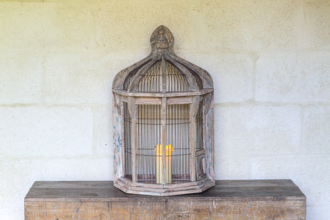 Limed Oak Half Round Bird Cage