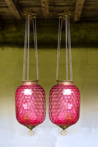 Offbeat Interiors - A Beautiful Near Pair of Cranberry Glass Hanging Lights