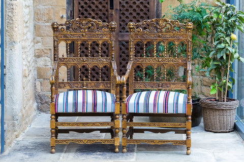 Offbeat Interiors - Gilt Wood Open Armchairs in the Renaissance Revival Style