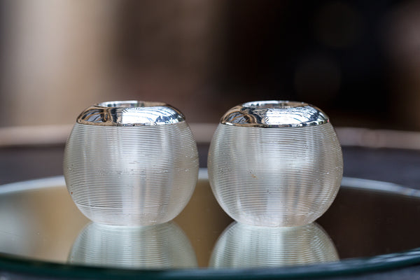 Offbeat Interiors - A Pair of Ribbed Clear Glass Match Strikers
