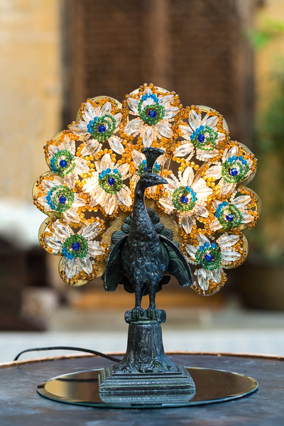 Offbeat Interiors - 1920's Bronzed Gilt Metal and Glass Peacock Lamp