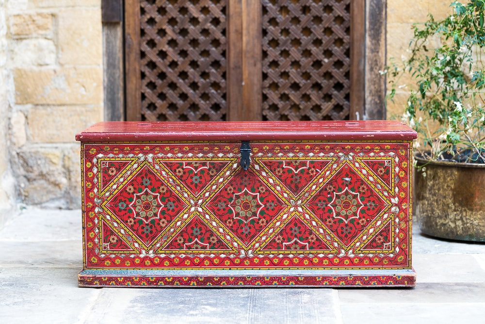 Offbeat Interiors - Indian Red Lacquered Blanket Box