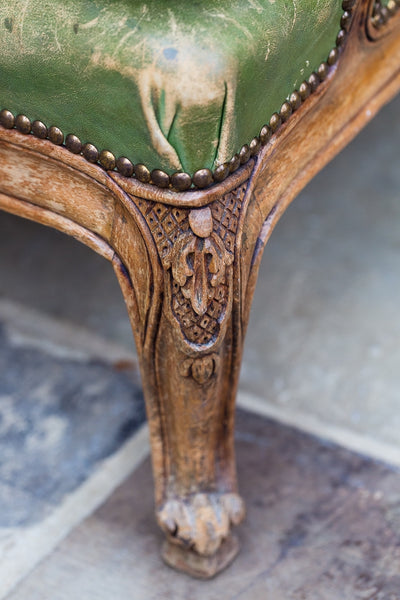 Offbeat Interiors - French Beechwood Green Leather Library Chair