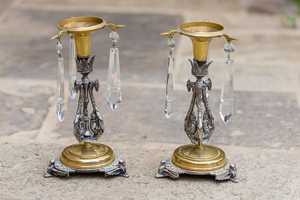 Offbeat Interiors - A Pair of silvered and Gilt metal Lustre Candlesticks