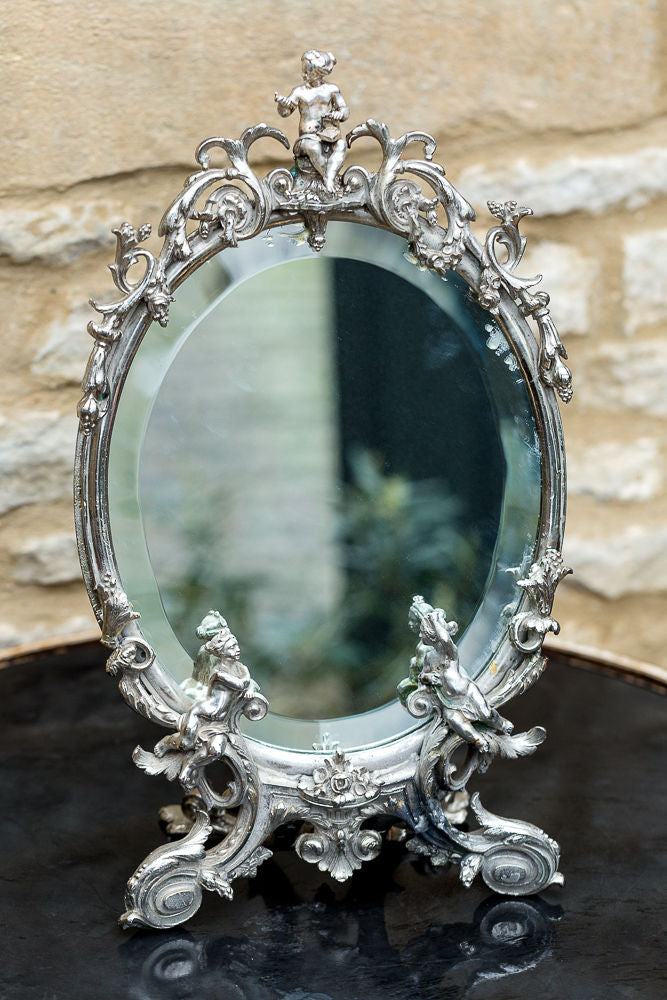 Offbeat Interiors - Decorative White Metal Mirror