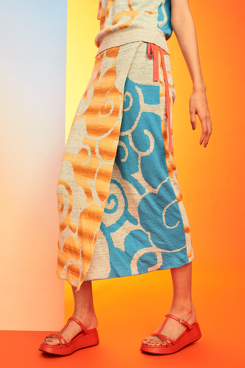 Cirrus Linen Wrap Skirt in Day