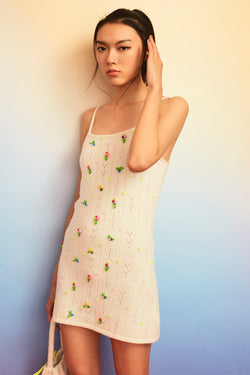 Rosie (Rosebud) Mini Dress in Ice White Lambswool *out of stock! email us for waitlist!*