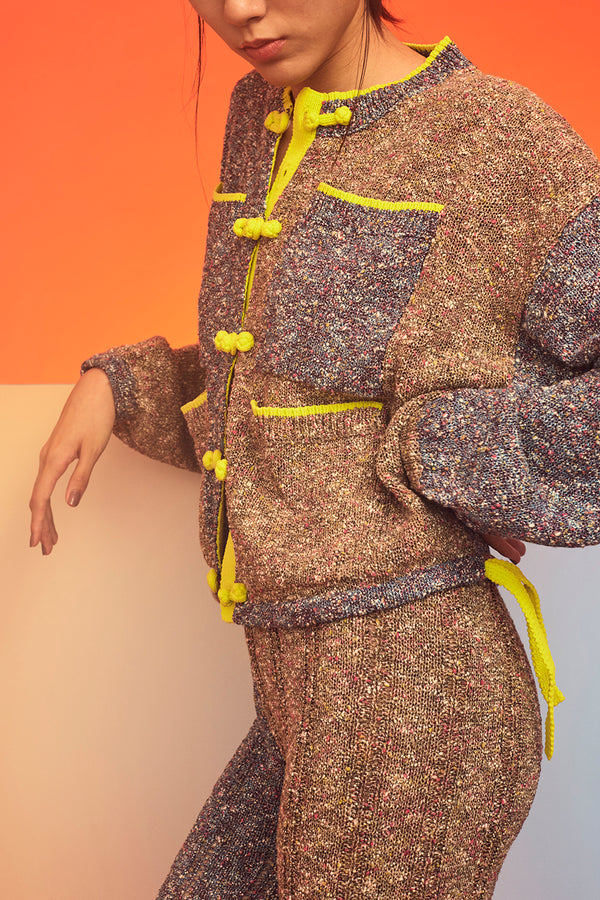 Tweedle Taichi Jacket in Brown/Blue Tweed *OUT OF STOCK! EMAIL US FOR WAITLIST!*