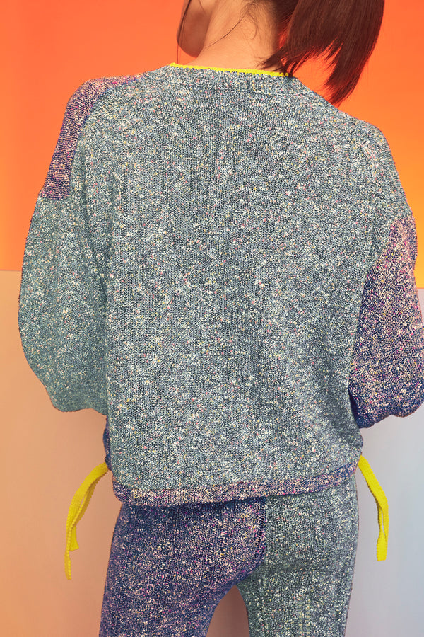 Tweedle Taichi Jacket in Blue/Navy Tweed