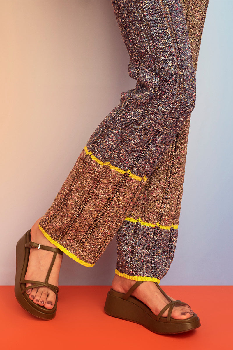 Tweedle Pant in Brown/Blue Tweed
