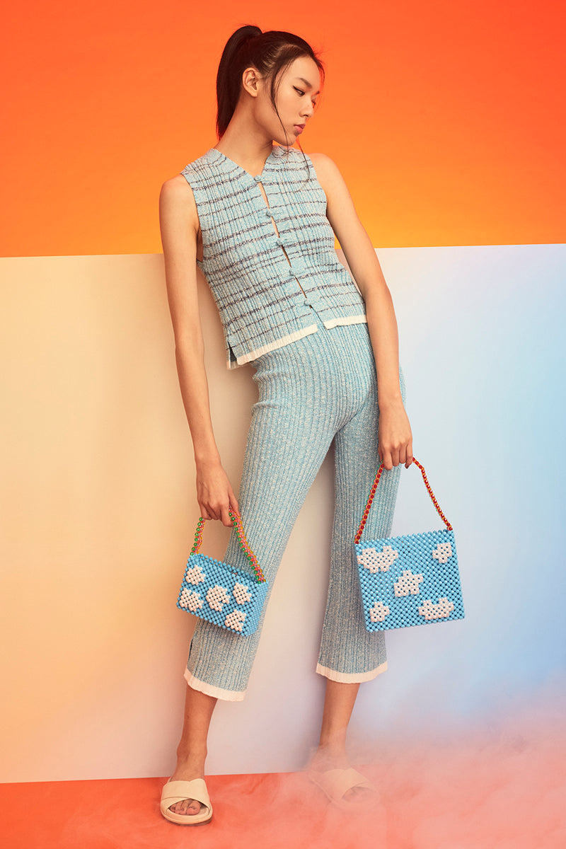Romy Tweed Rib Pant in Turquoise